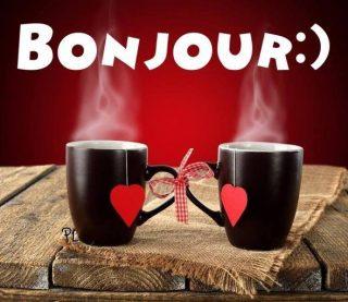 Bonjour - Café avec des coeurs